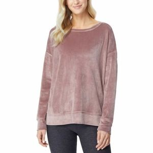 32 Degrees Ladies Velour Pullover Pink